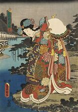 Utagawa Kunisada 'Red' Japanese Woman Japan 7x5 Inch Print