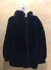 Gallery Womens Black Faux Fur Hooded Winter Coat Size Medium