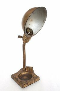 1900s Rare  Antique Cast Iron Flexible Neck Table Lamp with Ashtray