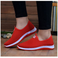 Women's Mesh Sports Casual Shoes Slip On Running Walking Sneakers Flat Shoes Hot
