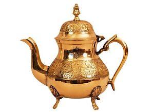 Leaf Design Brass Mughlai Tea Pot with Lid, Serving Tea Coffee, 750 ML, Gold