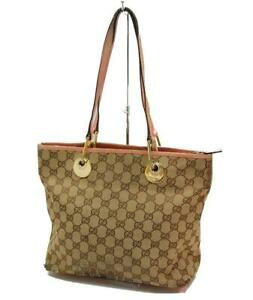 Auth GUCCI GG Canvas Shoulder Tote Bag Brown Pink 0924a