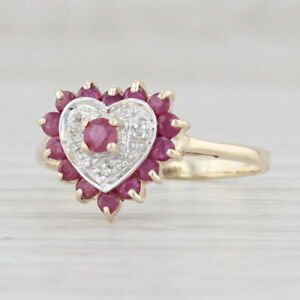 0.55ctw Ruby Diamond Halo Heart Ring 10k Yellow Gold Size 7.5 July Birthstone