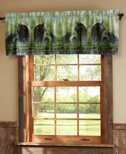 Northwoods Black Bear Family Window Valance Lodge Cabin Woodland Plaid Valance