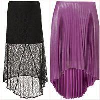 Topshop Black Lace Or Purple Metallic Pleated Midi Skirt Size 8 10 UK US 4 6 ❤