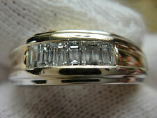 VINTAGE 7MM 14K SOLID TWO TONE HEAVY GOLD 60 PT DIAMOND  BAGUETTE BAND SIZE 10