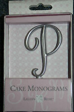 "Letter P Silver 2 1/2"" Monogram 25th Anniversary Wedding Cake Topper Pick"