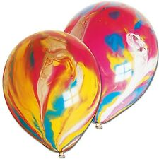 """10 X 11"""" MARBLE BALLOONS PARTY SWIRL AGATE RAINBOW COLOURS BIRTHDAY"""