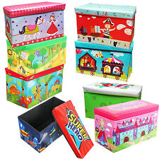 FOLDABLE KIDS STORAGE TOYS BOX GIFT BENCH SEAT W/ LID STOOL BEDROOM ROOM BOOKS