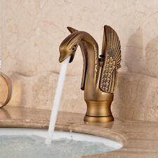 Luxury Gold Swan Bathroom Basin Mixer Tap Faucet Single Lever Hot & Cold Spout Antique Brass