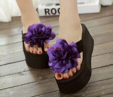 New Rose Flower High Heel Platform Shoes Casual Beach Womens Slipper Sandal -58