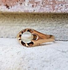 Antique Vintage Moonstone Enagagement Ring Belcher Mount in 10k Yellow Gold