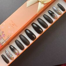 Hand Painted False Nails. XL Coffin (or any shape). Classic Black Elegance