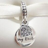 Sterling Silver Charm You're My Rock Decorated Heart With CЅ Pendant Dangle