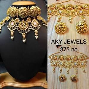 Gold Plated Kundan Choker Necklace Set Bollywood Bridal Indian Jewelry Sets