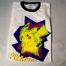 Pikachu Pokemon T-shirt XL Mens White Neon Multicolors Graphic Spell Out NWT