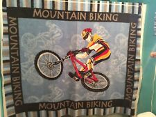 "Motocross mountain biking bicycle dirt bike sport fleece fabric panel 65"" x 50"""