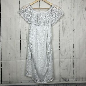 Pink Blush Maternity Size M White Lace Dress Off The Shoulder Knee Length Ruched