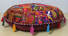 "32"" Indian Vintage Round Floor Cushion Cover Patchwork Embroidered Pillow Decor"