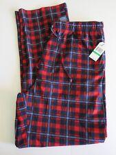 NWT Nautica Men's L Red Blue Plaid Polyester Pajama Lounge Pants NWT