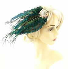 Gold White Green Peacock Feather Headpiece 1920s Fascinator Hair Clip Vtg 844