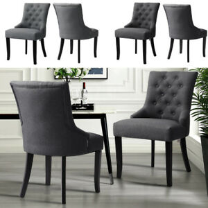 2x Arm Chair Linen Back Buttons Lounge Dining Room Home Office 1 Seater Armchair