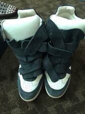 Isabel Marant Hidden Wedge Black & Beige Suede High Top Sneakers Size 38