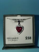 "Lab Created Ruby & White Sapphire Sterling Silver Heart Pendant 18"" Necklace"