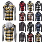 FashionOutfit Casual Plaid Check Detach Hoodie Cotton Flannel Long Sleeve Shirt