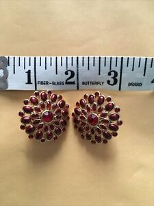 Large Vintage Red Clip on Monet Earrings