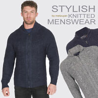 Mens Zipped Cardigans Grey Navy Full Zip Up Stand Collar Cable Knitted Sweater