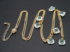 "$18 Nordstrom Green & White Beaded Station Necklace Goldtone Chain 41"" Long"
