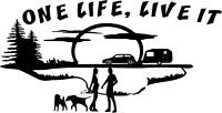 2FT ONE LIFE, LIVE IT Caravan motorhome Sticker decal DOGS 60cmx30cm