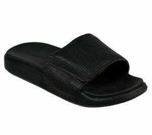 Mens Skechers Black Sliders Slip On Mules Adjustable Sandals Size 7 41