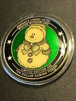 Harrah's Ten Dollar Token Winter Wonderland Ltd Edit (250) Snowman Green Backgrd