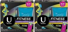 (LOT OF 2) U by Kotex Fitness Compact Tampons, Regular, Unscented, 30 total