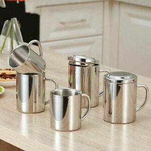304 Stainless Steel Double Wall Mug With Lid Portable Travel Coffee Tea Cup Tumb