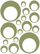 32 OLIVE GREEN CIRCLE IN CIRCLE BEDROOM WALL DECALS STICKERS REMOVABLE