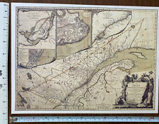 Historic Antique Old Vintage MAP 1700's: Province of Quebec, Canada: Reprint