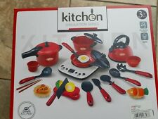 Cute Kids Kitchen Pretend Play Cooking Baking Pots Pans with Lights &sound.New