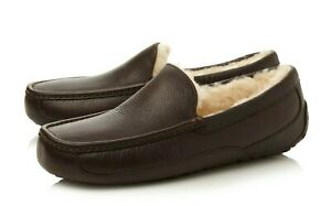 UGG ~ MENS ESPRESSO BROWN LEATHER ASCOT SLIPPERS~ SIZE 10 NEW
