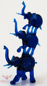 "Glass Blue triple Elephants Figurine handmade hand blown in Ukraine ""murano"""