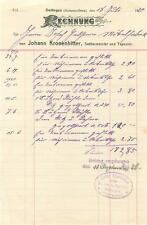 Vecchia FATTURA, Dettingen (Horb) Johann corone amaro, oggetti da 1920 #e742