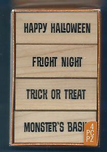 HAPPY HALLOWEEN Fright Night MONSTERS BASH Inkadinkado NEW 4 pc Rubber Stamp Set