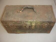 "Antique 18"" Metal & Wooden Tool Box LOOK! MS2842"
