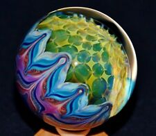 "CRAZY Travis Weber 2.2"" Boro Glass Art Marble Rare 2009 Borosilicate Fumed Orb"