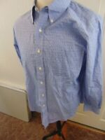 Brooks Brothers  Non-Iron Blue Extra Slim Fit Check Dress Shirt Sz 16.5-33 GUC