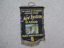 AUSTRALIAN NEW SYSTEM RADIO ADVERTISING SIGN MADE of WOOLLEN FELT CLOTH c1925