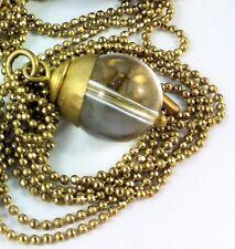 Rose Quartz Necklace Pendant Carnelian Amethyst Clear Crystal Bronze Long Chain