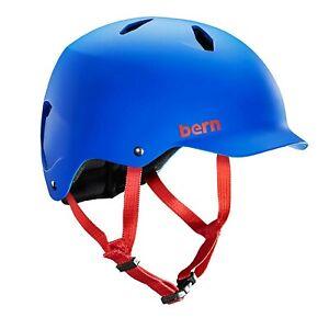 HELMET BIKE SKATE SCOOTER KIDS JUNIOR BLUE MEDIUM BERN BANDITO 53- 56CM PEAK